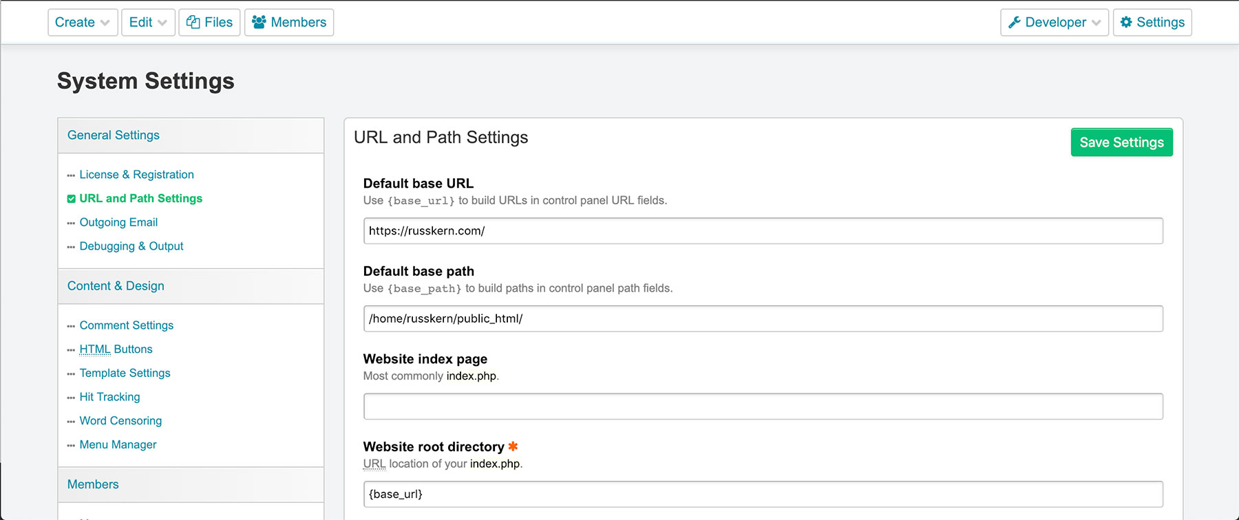 URL & Path Settings Page