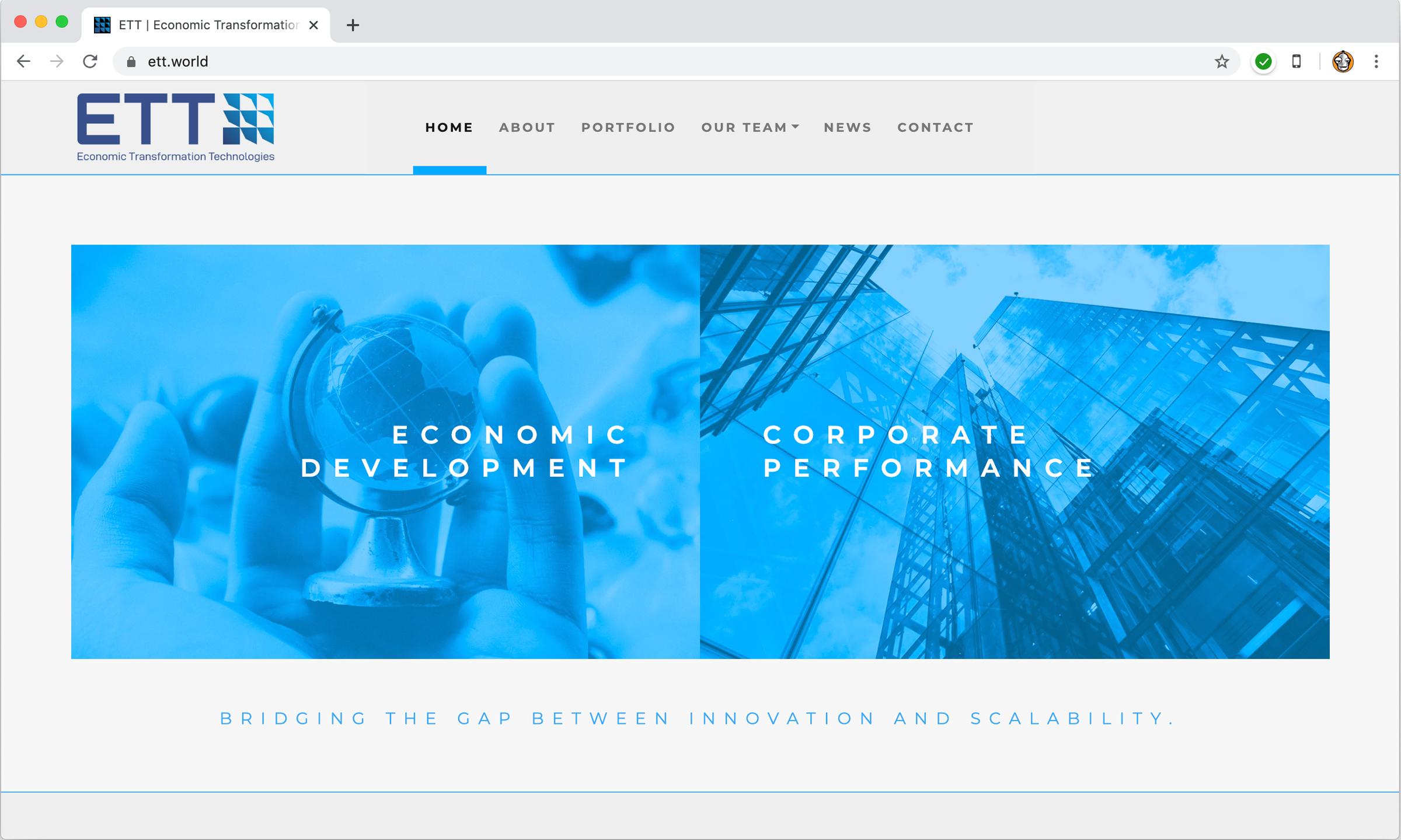 ETT Website Homepage