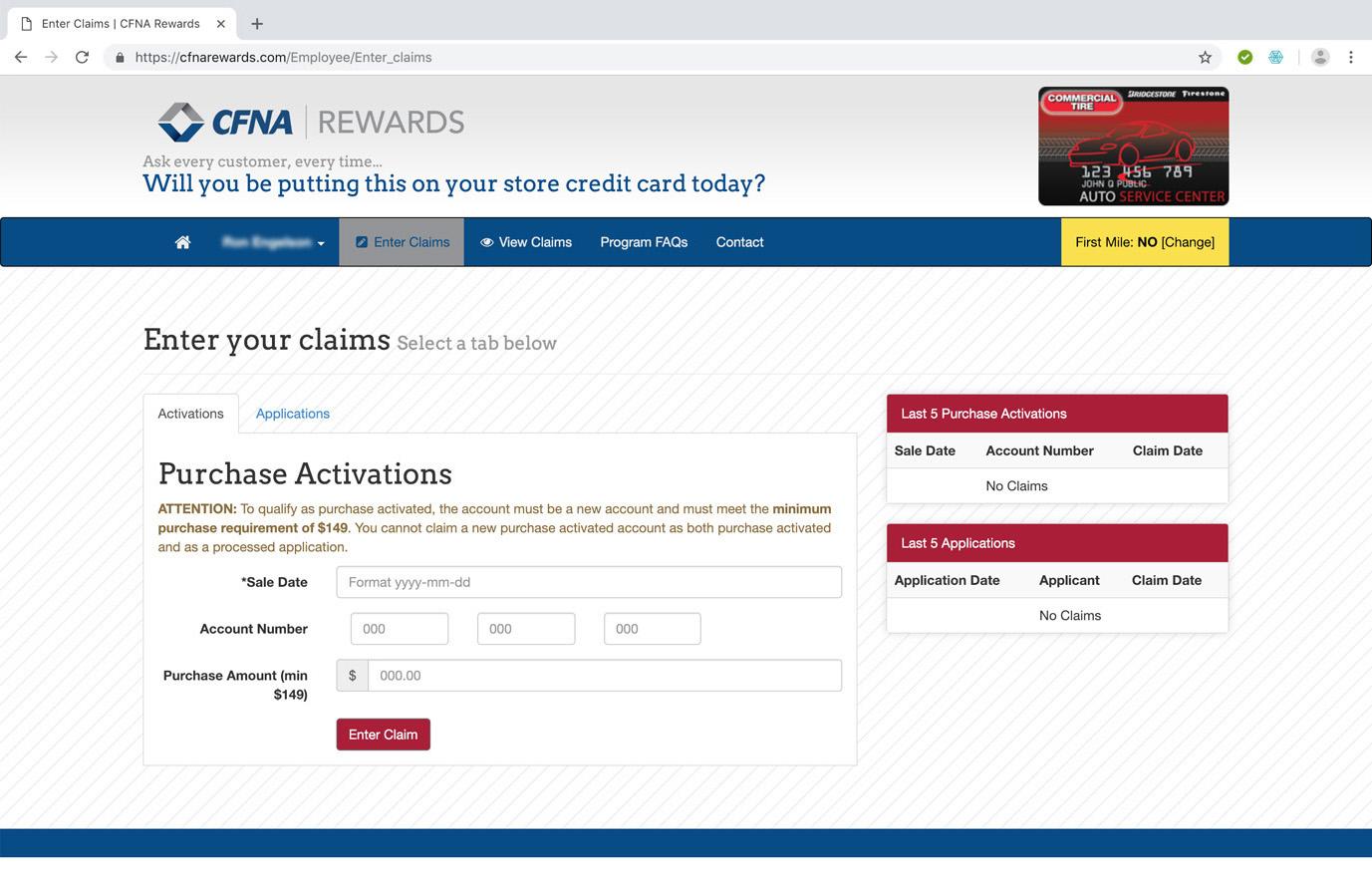 CFNA Rewards Claims