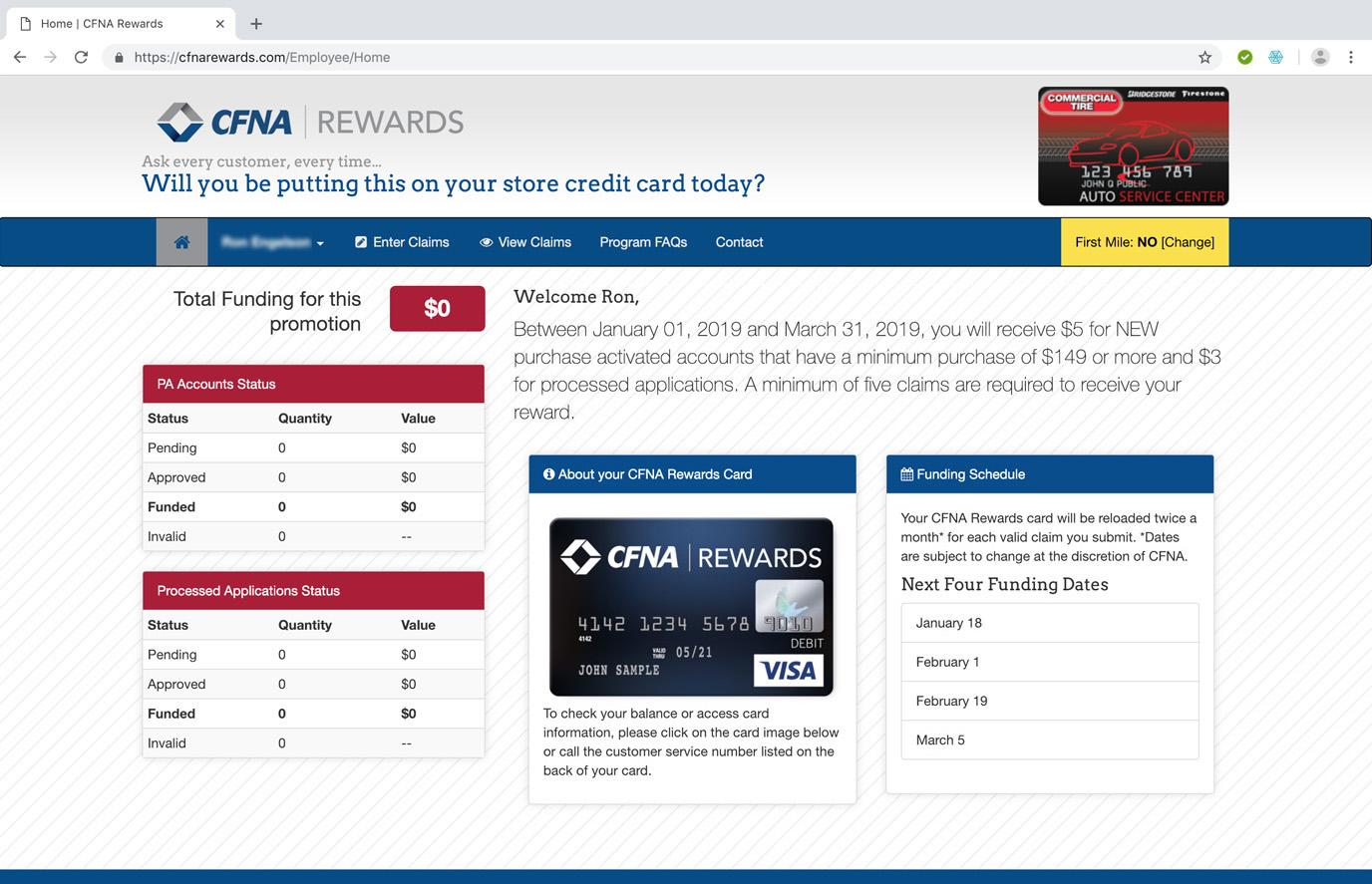 CFNA Rewards Landing page