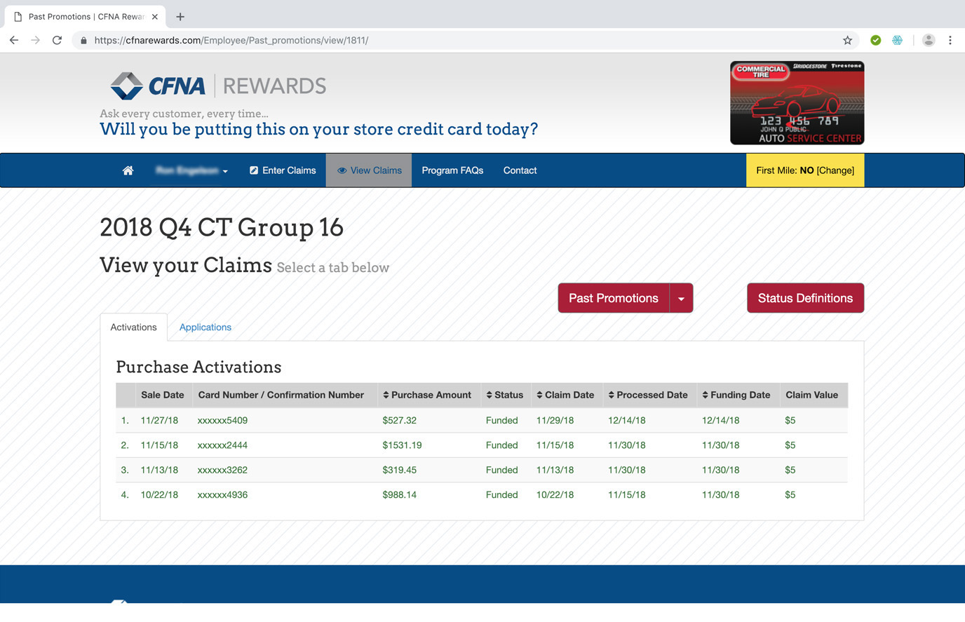 CFNA Rewards View Claims