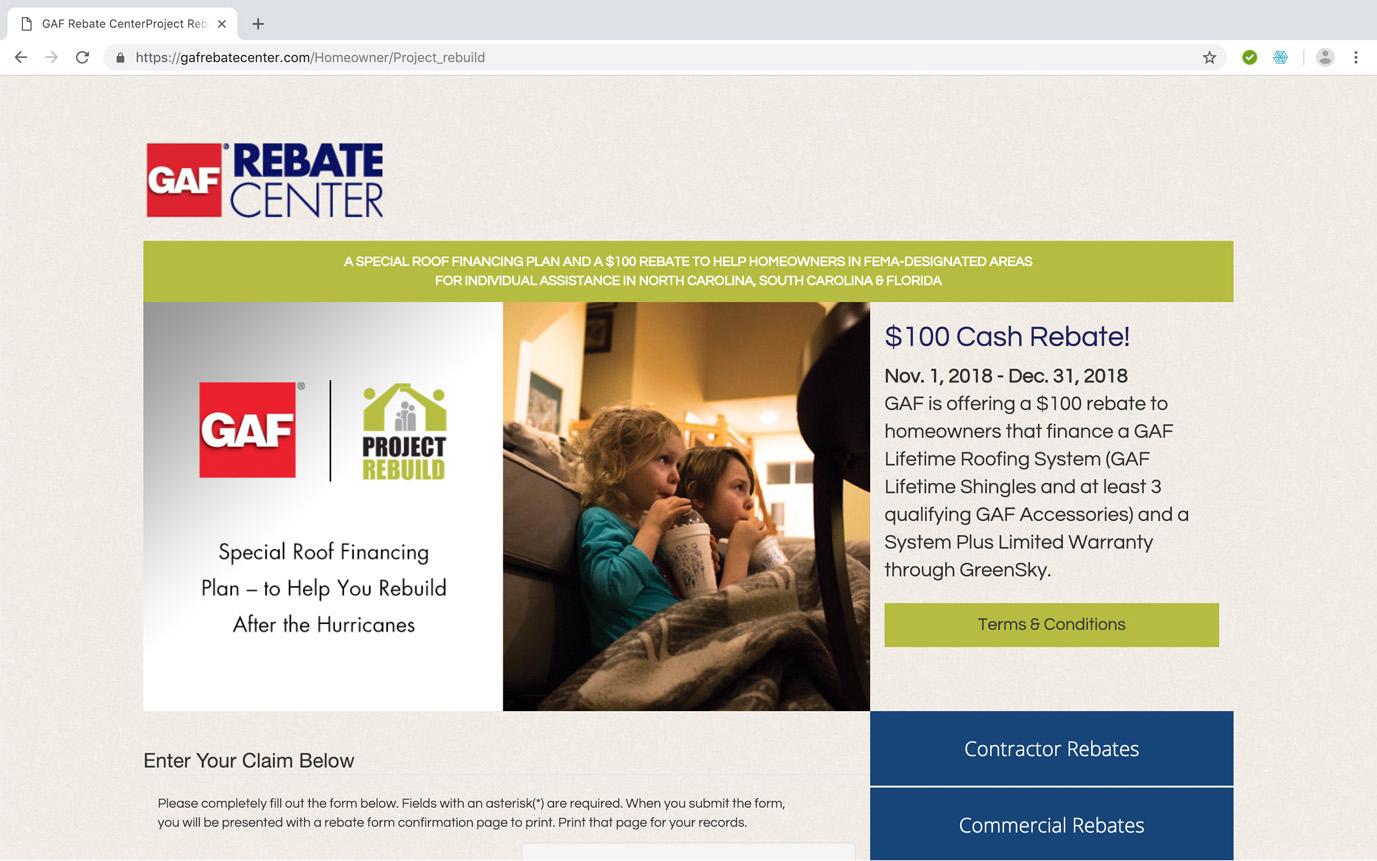 GAF Rebate Center Homeowner Rebate