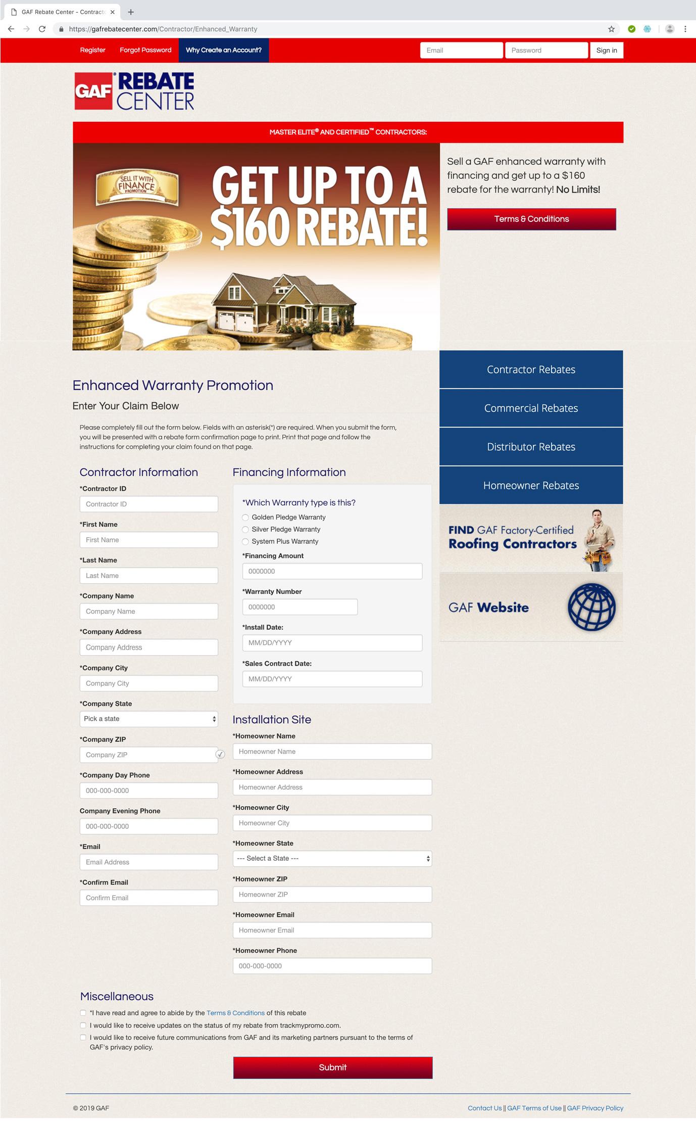 GAF Rebate Center Contractor Rebate Claim Form